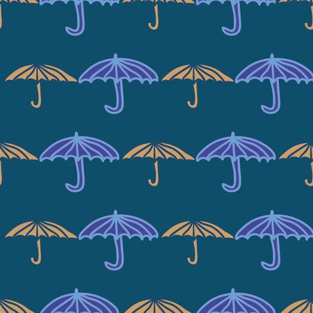 Vector seamless pattern with umbrellas in rows.