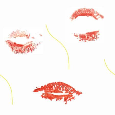 vector pattern, realistic lipstick vectorised and blond single hair in a repeating pattern on white background. Illustration