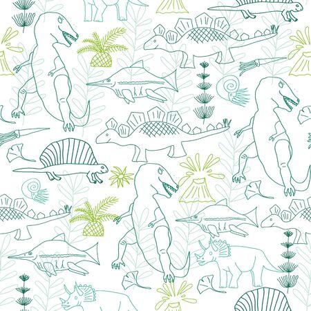 Vector seamless pattern, dinosaurus, tyranosaurus, stegosaurus, horsetail, prehistoric flowers. Linear.