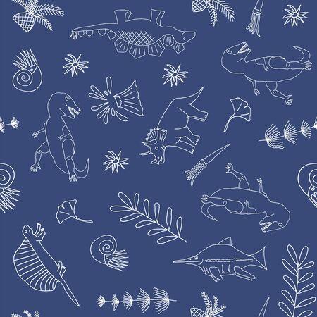 Vector pattern, linear art, white dinosaurs on phantom blue background.