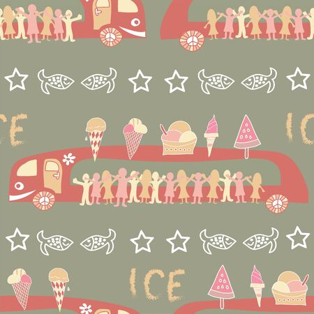 Vector pattern, retro vintage ice truck, limousines with a lot of children buying ice cream.
