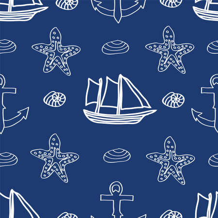 Vector illustration of seamless pattern with ocean and sea elements ship, star fish, shell, anchor. Underwater world Illustration