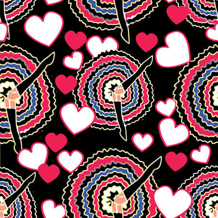 Can can dancers with skirt and legs up, white and pink hearts on black background. Vintage retro cabaret pattern.
