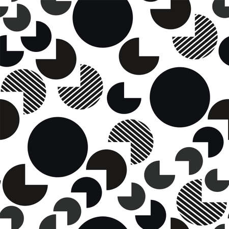 Black and white fat geometry vector seamless pattern. Big fish eating smaller fish. Circles and outcut shapes.
