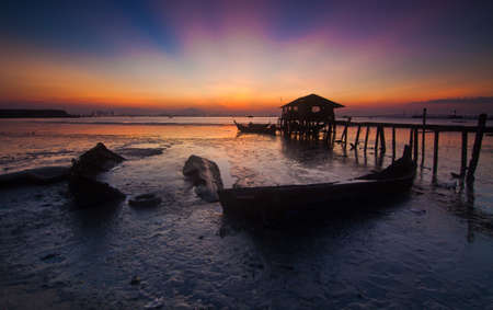 Sunrise in a fisherman village in Jelutong Penang Malaysia