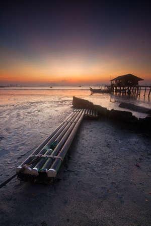 pinang: Sunrise in a fisherman village in Jelutong Penang Malaysia