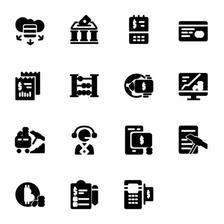 finance icon set design solid style part 2. Perfect for application, web, logo and presentation template