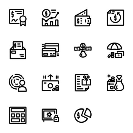 finance icon set design line style part 1. Perfect for application, web, logo and presentation template