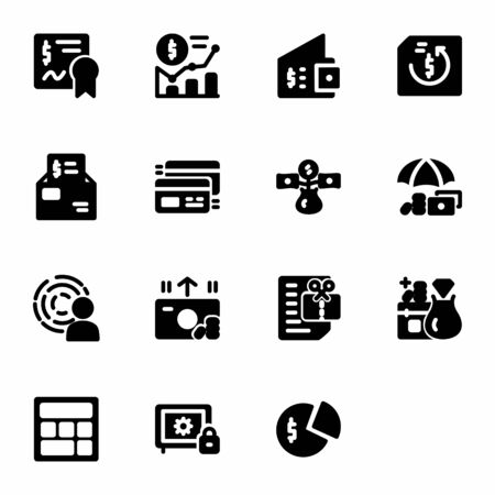 finance icon set design solid style part 1. Perfect for application, web, logo and presentation template Stock Illustratie