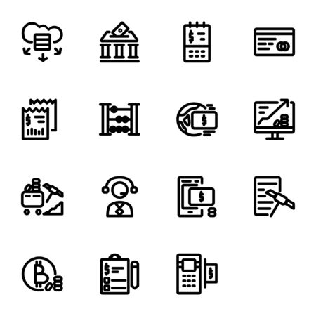 finance icon set design line style part 2. Perfect for application, web, logo and presentation template Illustration