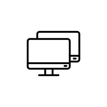 double monitor icon. Perfect for application, web, logo and presentation template. icon design line style Illustration