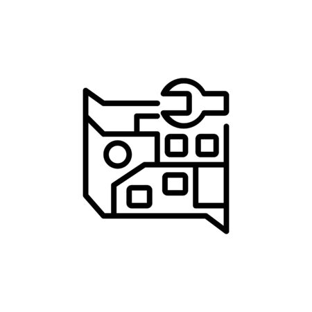 map setting icon. Perfect for application, web, logo and presentation template. icon design line style
