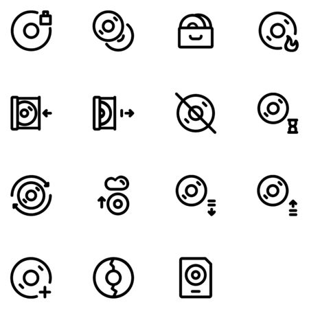 disc icon set design part 2. Perfect for application, web, logo and presentation template. icon design line style