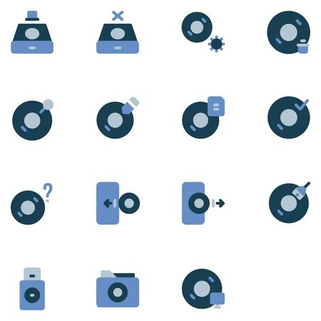 disc icon set design part 1. Perfect for application, web, logo and presentation template. icon design flat style Çizim