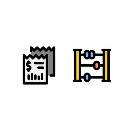 bill and abacus icon, finance technology icon. perfect for  website, application and presentation. icon design filled line style