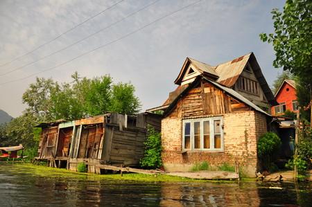 kashmir: Floating houses of Kashmir Stock Photo