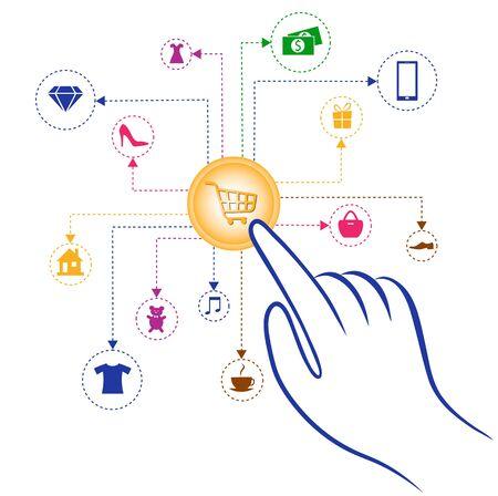 Graphic scheme - ordering goods through an online store. Illustration