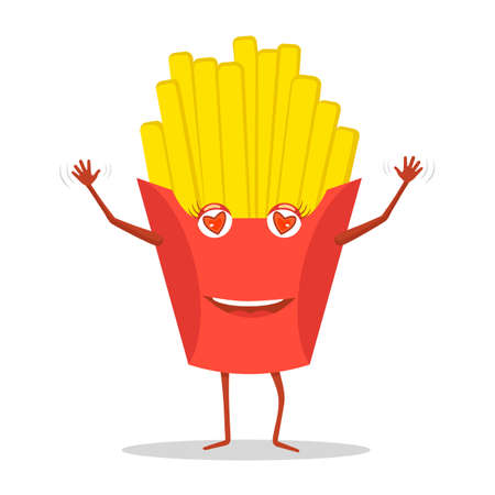 Merry french fries with a smile on his face.