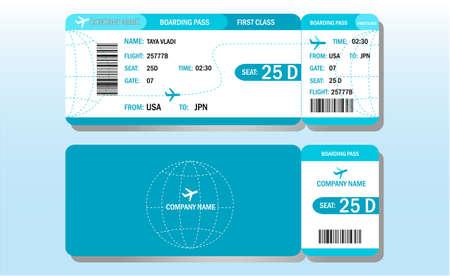 Air tickets design template. First class flight. Ilustración de vector