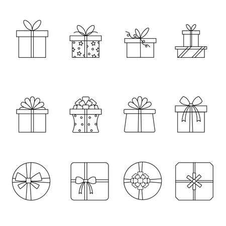 Set of linear vector icons. Various options with gift boxes tied with a ribbon and decorated with a bow. 일러스트