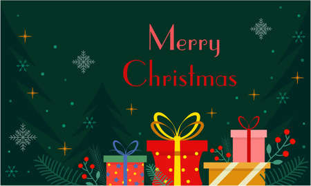 Congratulatory, vector design on a green background, Merry Christmas. Ilustração