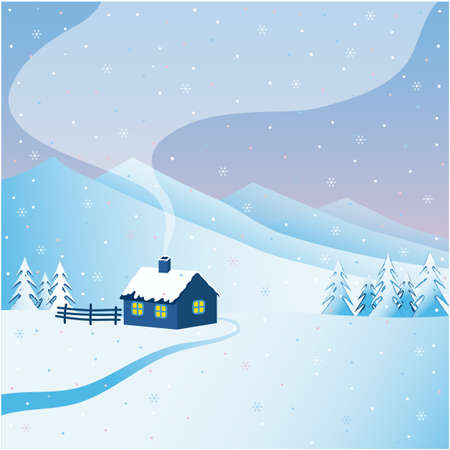Vector illustration. Snowy winter, mountain landscape with a house near the highlands.