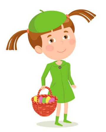 Girl in spring clothes with a basket in which multicolored eggs for the holiday, prepared for the celebration of Easter. Vector illustration in flat style for Easter.