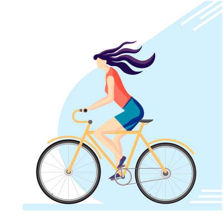 Girl cyclist. Active, sporty lifestyle and healthy lifestyle, ecological transport. Vector illustration in a flat style.