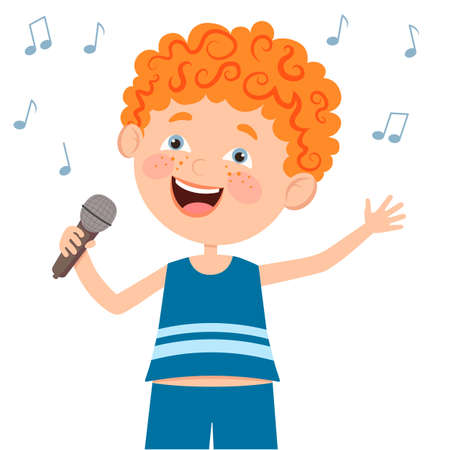 The boy holds a microphone in his hand and sings. Vector illustration in a flat style. Suitable for web design, children's books, children's party.