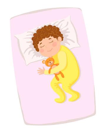 Happy children's sleep. Child with a teddy bear in bed. Vector illustration in a flat style. Vektoros illusztráció