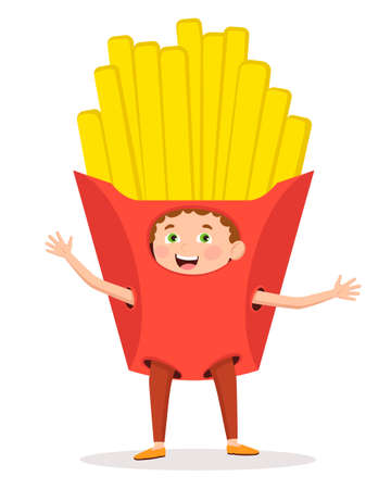 Cheerful, cheerful boy in a fast food suit - French fries. Vector illustration in a flat style. Suitable for web design, children's books, children's parties.