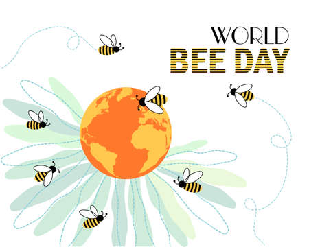 Vector design for International Day of the Bees on May 20. Bees fly around planet Earth - the center of a flower with petals. Remind about the importance of pollinators, threats to their existence.