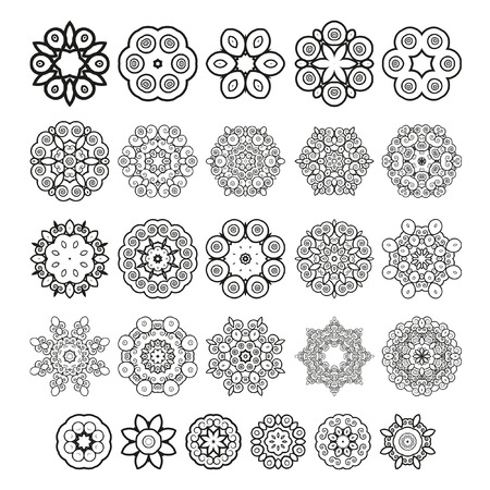 asterisks: Decorative design elements. Circle ornament. Set of vector circular patterns florets snowflakes asterisks for decoration of your works.