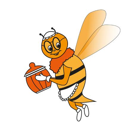 the bee: Abeja abuela Feliz en el delantal y la olla de la miel en un fondo blanco Vectores