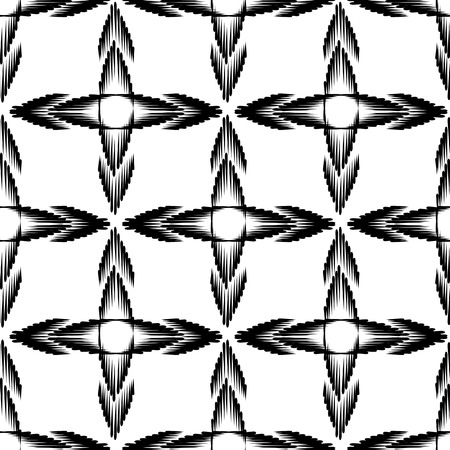 multidirectional: Vector seamless geometric pattern in a contrasting black and white tones.  Monochrome background of multidirectional arrows.