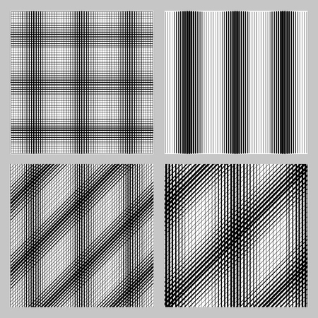 intersect: White and black stripes intersect and create a square. Set of 4 seamless pattern for backgrounds, fabrics and finishing of paper. Illustration