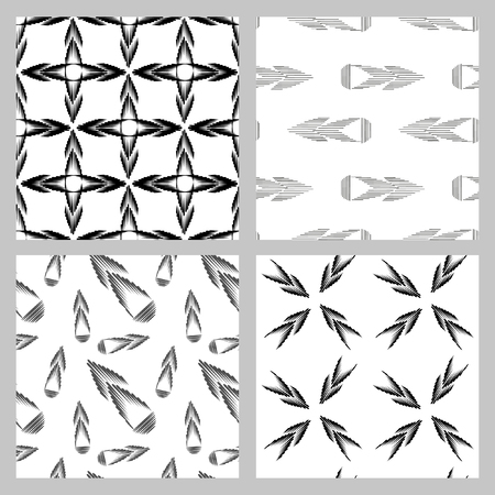 multidirectional: Set of 4 monochrome elegant seamless patterns. Vector seamless geometric pattern in a contrasting black and white tones.  Monochrome background of multidirectional arrows.