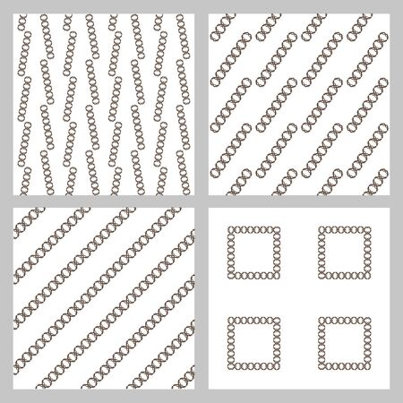 sloping: Set of 4 monochrome elegant seamless patterns. The original vector background patterned sloping dark stripes on a white background