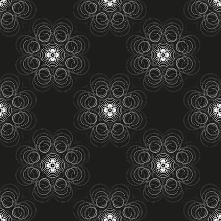 Vector seamless monochrome flower geometrical pattern. Flowers from spiral elements. A background rich with a retro for a wrapper, walls, backgrounds.