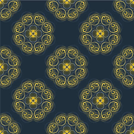 wrapper: Vector seamless monochrome flower geometrical pattern. Flowers from spiral elements. A background rich with a retro for a wrapper, walls, backgrounds.