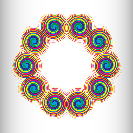 nodules: Mandala, circular pattern. A pattern from color spirals for your designs. Spirals and patten elements of red, blue and green color. Vector pattern.