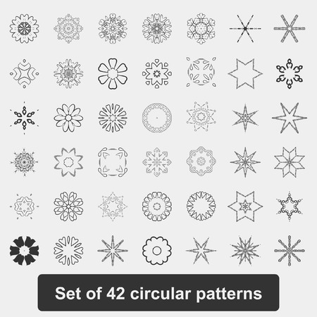 diameter: A set of circle lace patterns in white and black. The circular pattern. Snowflakes, stars, mandala. A set of 42 elements. Vector.