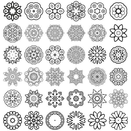 asterisks: Decorative design elements. Circle ornament. Set of 36 vector circular patterns, florets, snowflakes, asterisks for decoration of your works.