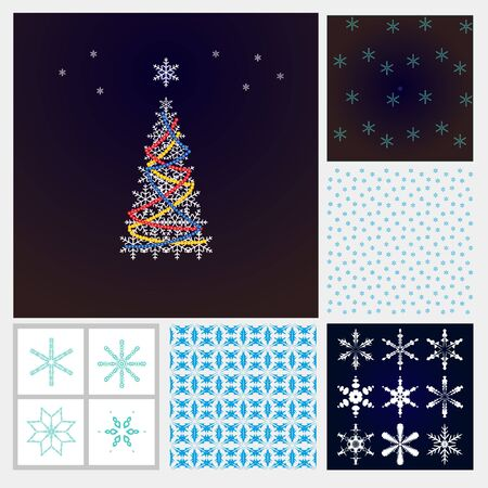 fanciful: Christmas set. Christmas tree, snowflakes, snow background Frosty pattern - for decoration of Christmas greetings, postcards sites.
