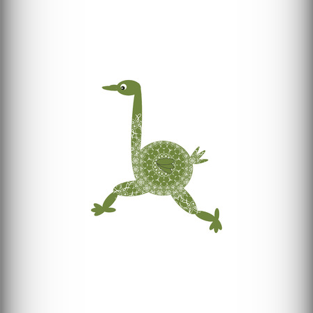 flightless: Animals of Africa. Ostrich. Vector drawing. The stylized image of an ostrich. Openwork pattern.