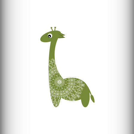 ruminant: African animals. Giraffe. A stylized drawing of a giraffe on a white background. Isolated picture. Vector drawing. Illustration