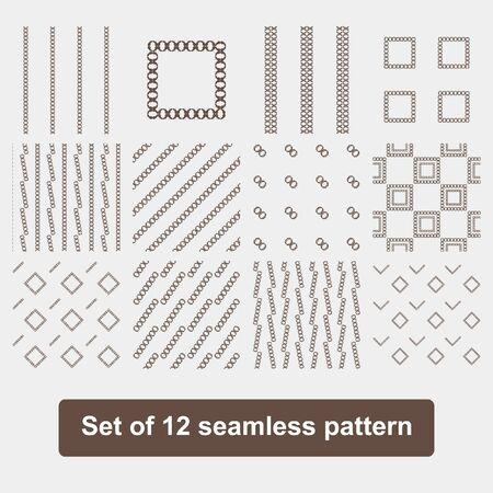 sloping: Set of 12 monochrome elegant seamless patterns. The original vector background patterned sloping dark stripes on a white background Illustration