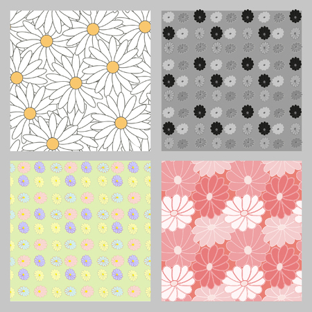 wrap vector: Set of four seamless floral patterns to create a retro images, registration cards, fabric wrap. Vector background. Seamless pattern. Flower pattern.