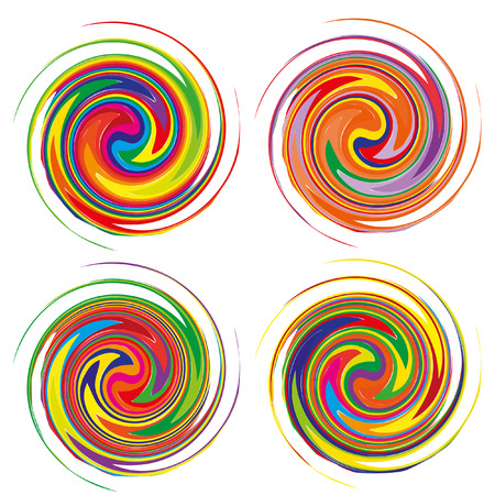 nodules: Mandala, circular pattern. A pattern from color spirals for your designs. Spirals and patten elements of red, blue and green color. Set of 4 vector pattern. Illustration