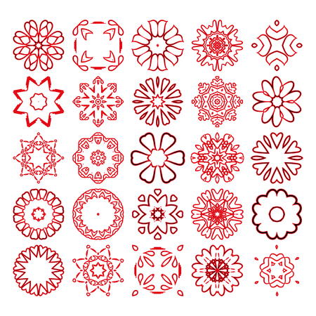 Decorative design elements. Circle ornament. Set of vector circular patterns, florets, snowflakes, asterisks for decoration of your works.